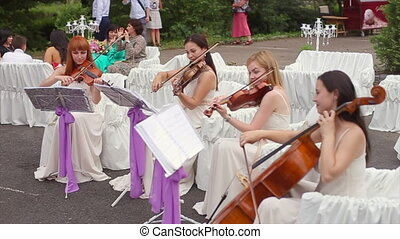 Ladies Playing the Violin and Cello