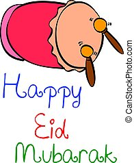 Happy Eid Mubarak colorful style