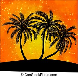 Palms silhouettes at orange sunset sky, vector background