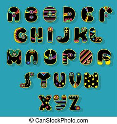Black Alphabet. Superhero style. Cartoon letters with bright...
