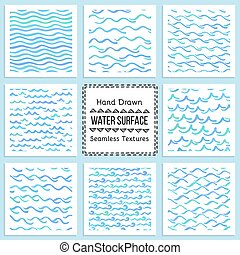 Set of hand drawn vector textures of water surface