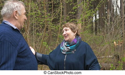 An elderly couple is emotionally talking on a walk in the park. A man says something and makes gestures with his hands. The woman listens attentively. In the spring, in the evening.