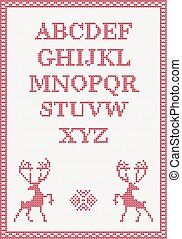 Red knitted alphabet