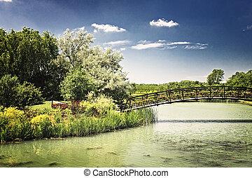 Pond with foot bridge