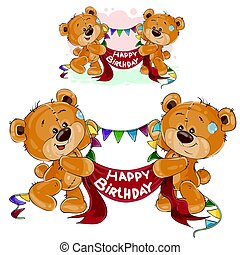 Vector two brown teddy bears holding in their paws a garland and banner with the inscription Happy Birthday
