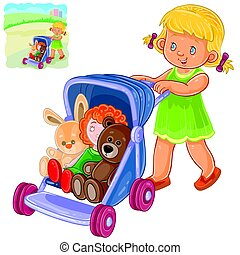 Vector illustration of a little girl rolls the stroller with her toys