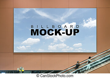 Front of Billboard mock up in airport area - Advertising at...