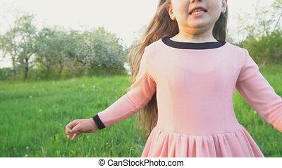 The little girl is running