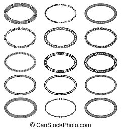 Monochromatic ethnic oval frames in collection