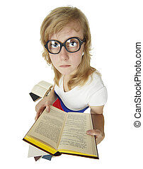 Girl in old heavy glasses read books