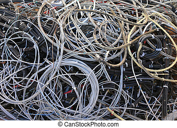 used electrical power cables in the landfill for recyclable mate