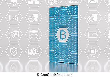Bitcoin / crypto-currency concept with futuristic smartphone...