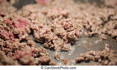 Minced meat being mixed in a pan
