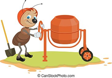 Working ant and concrete mixer. Isolated on white vector...