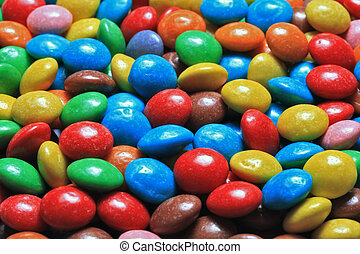 Color dragees - Bright multi-colour chocolates in sugar...