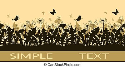Butterflies and Flowers Silhouettes - Horizontal Seamless...