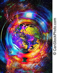 Planet Earth in light circle, Cosmic Space background.