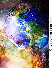 Planet Earth in cosmic space Cosmic Space background.