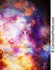 Goddess Woman and ornametal mandala in Cosmic space. Cosmic...