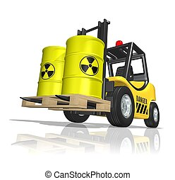 Nuclear waste on forklift - 3D illustration