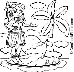Hawaiian woman hula dancer on an island. Coloring book page