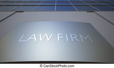 Abstract law firm signage board. Modern office building. 4K...