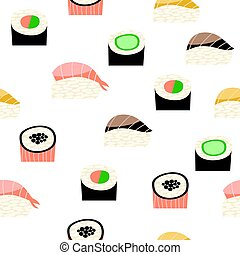 Seamless pattern with different types of sushi. Japanese...