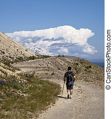Hking Towards Mt Adams - A single hiker walking along the...