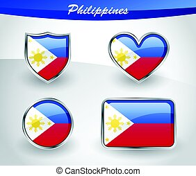 Glossy Philippines flag icon set with shield, heart, circle...