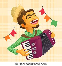 Happy peasant playing the accordion - Detailed illustration...