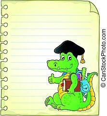 Notepad page with school theme crocodile