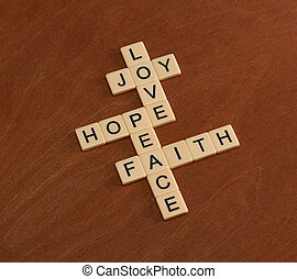 Crossword puzzle with words Faith, Hope, Love. Faith...
