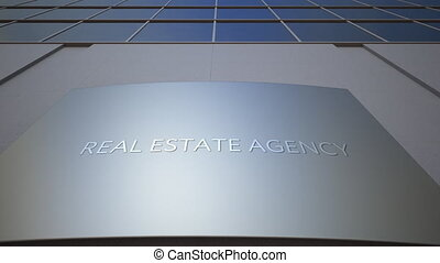 Abstract real estate agency signage board. Modern office building.