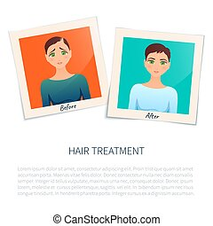 Photographs of a woman before and after hair treatment -...