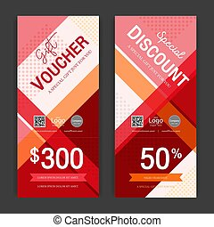 Modern gift voucher on colorful background for sales and...