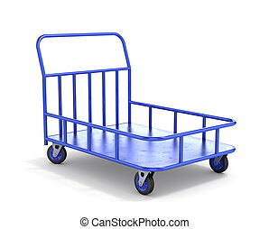 Transport cart. Industrial trolley. 3d illustration