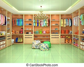 Bright childrens dressing room with toys. 3d illustration