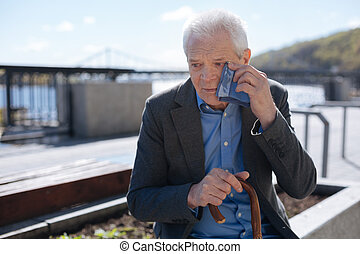 Poor old man crying outdoors - Do not offend the elderly...