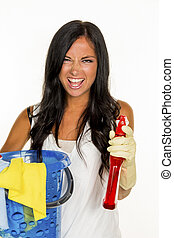 housewife is angry about brushing - a young woman is annoyed...