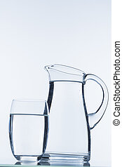 pitcher of water - carafe and a glass of water, symbol photo...