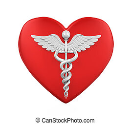 Heart Shaped with Caduceus Medical Symbol