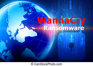 WannaCry ransomware attack internet system. Cyber security network concept