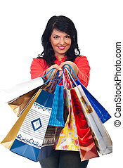 Smiling woman hold many shopping bags - Smiling woman...