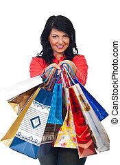 sorrindo, mulher, ter, muitos, shopping, sacolas