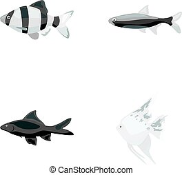 Angelfish, common, barbus, neon.Fish set collection icons in...