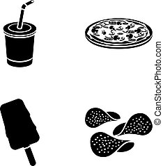Cola, pizza, ice cream, chips.Fast food set collection icons in black style vector symbol stock illustration web.