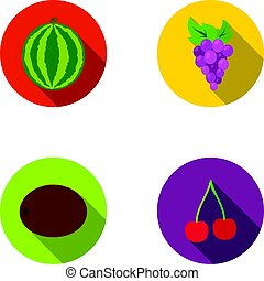 Watermelon, grapes, cherry, kiwi.Fruits set collection icons in flat style vector symbol stock illustration web.