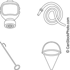 Gas mask, hose, bucket, bagore. Fire department set collection icons in outline style vector symbol stock illustration web.