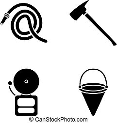 Ax fireman, hose, siren, bucket.Fire department set collection icons in black style vector symbol stock illustration web.