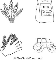 Spikelets of wheat, a packet of seeds, a tractor, gloves.Farm set collection icons in outline style vector symbol stock illustration web.